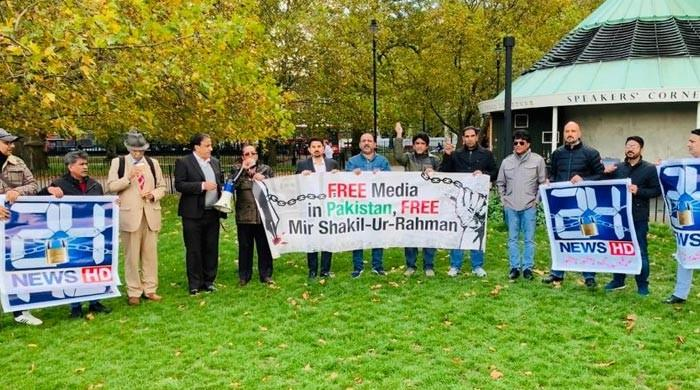 Protestors at UK's Speaker's Nook utter against MSR's illegal detention