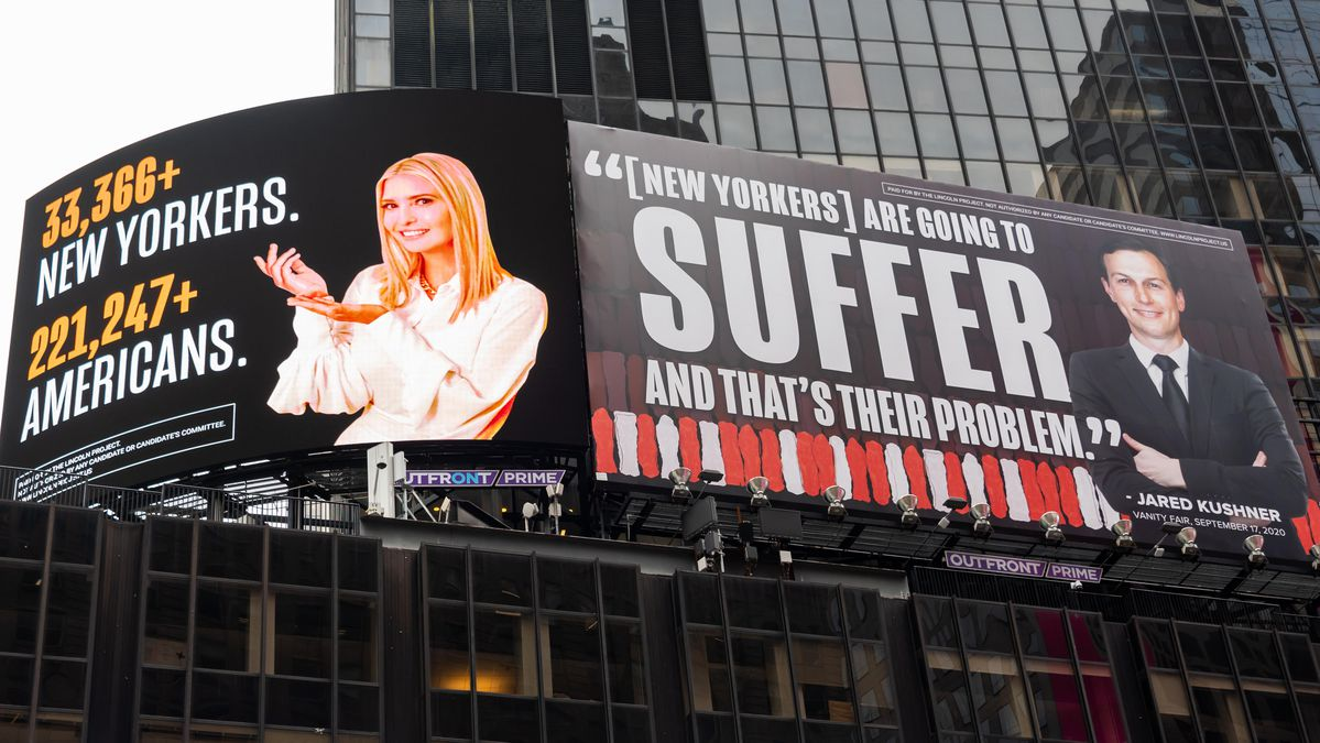 Lincoln Project Hits Motivate At Ivanka, Jared Over Times Square Billboard Upright Threat