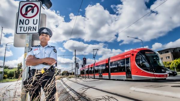 Police crack down on unlawful u-turns after light rail on the subject of misses